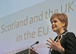 Nicola Sturgeon, First Minister of Scotland and leader of the Scottish National Party,  delivers a keynote address on the benefits of EU membership for work and living standards, at an event hosted by the Resolution Foundation at St John's in London, Monday, Feb. 29, 2016. (AP Photo/Frank Augstein)