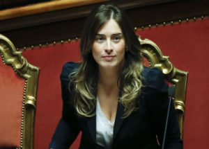 Italy's Minister for Constitutional Reforms and Parliamentary Relations Maria Elena Boschi looks on during a confidence vote at the Senate in Rome February 24, 2014. Prime Minister Matteo Renzi faces his first test before a fractious national parliament on Monday when he goes to the Senate to put flesh on ambitious reform plans and seeks to win a confidence vote in his newly installed government. REUTERS/Tony Gentile  (ITALY - Tags: POLITICS)