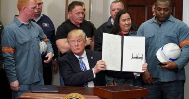 """US President Donald Trump signs Section 232 Proclamations on Steel and Aluminum Imports in the Oval Office of the White House on March 8, 2018, in Washington, DC. Trump on Thursday declared the American steel and aluminum industries had been """"ravaged by aggressive foreign trade practices"""" as he signed off on contentious trade tariffs. """"It's really an assault on our country,"""" he continued. """"I've been talking about this a long time, a lot longer than my political career."""" / AFP PHOTO / Mandel NGAN"""