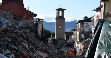 TOPSHOT - A picture taken on October 4, 2016 shows destruction in the village of Amatrice that was rattled by an earthquake on August 24, claiming nearly 300 lives. / AFP / TIZIANA FABI        (Photo credit should read TIZIANA FABI/AFP/Getty Images)