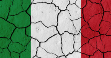 Flag of Italy over cracked background