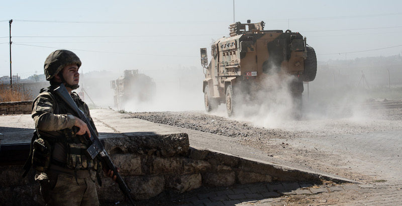 AKCAKALE, TURKEY - OCTOBER 10: Turkish armoured vehicles enter Syria on October 10, 2019 in Akcakale, Turkey. The military action is part of a campaign to extend Turkish control of more of northern Syria, a large swath of which is currently held by Syrian Kurds, whom Turkey regards as a threat. U.S. President Donald Trump granted tacit American approval to this campaign, withdrawing his country's troops from several Syrian outposts near the Turkish border. (Photo by Burak Kara/Getty Images)