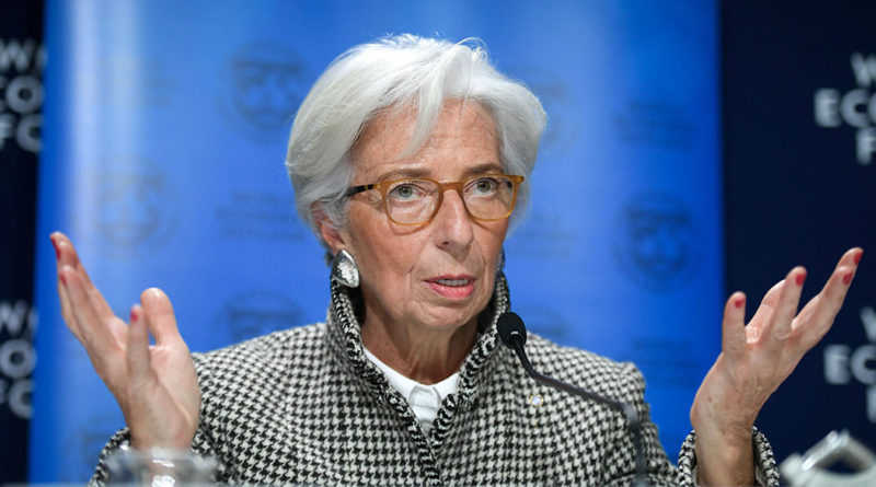 """International Monetary Fund (IMF) Managing Director Christine Lagarde speaks during a press conference on IMF World Economic Outlook ahead of the World Economic Forum (WEF) 2018 annual meeting, on January 22, 2018 in Davos, eastern Switzerland. The World Economic Forum (WEF) runs through January 23 - 26, focusing this year on the theme """"Creating a Shared Future in a Fractured World"""".  / AFP PHOTO / Fabrice COFFRINI        (Photo credit should read FABRICE COFFRINI/AFP/Getty Images)"""