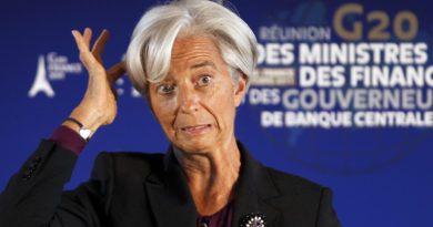 IMF head Christine Lagarde reacts during a news conference at the G20 meeting at the ministry in Paris October 15, 2011. REUTERS/Charles Platiau (FRANCE - Tags: POLITICS BUSINESS TPX IMAGES OF THE DAY) - RTXXSN8